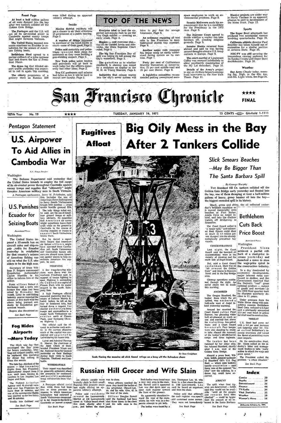 Chronicle Covers: San Francisco Bay's oil spill for the ages