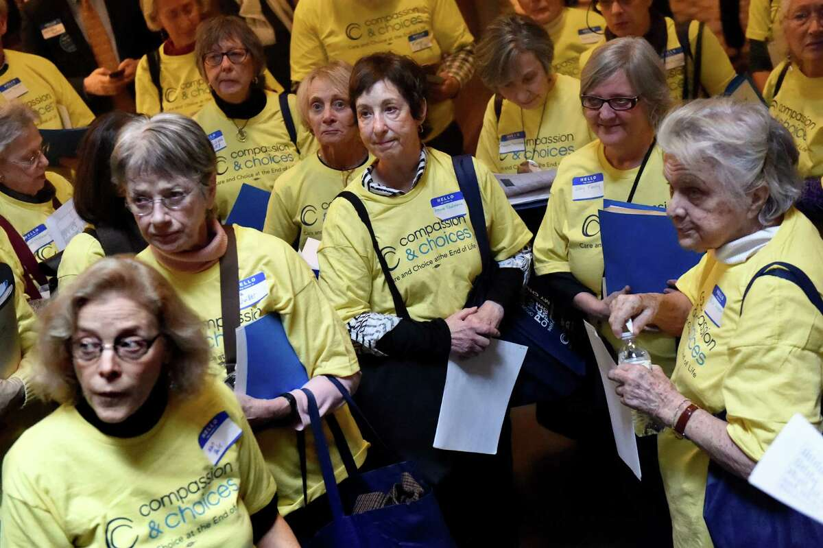 Advocates with Compassion and Choices gather to advance the death with dignity bill on Lobby Day on Tuesday, Jan. 12, 2016, at the Capitol in Albany, N.Y. (Cindy Schultz / Times Union)
