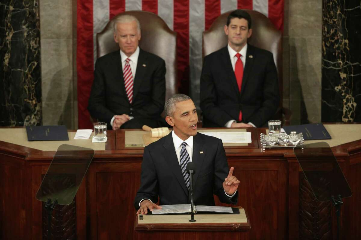 President Obama reflected on the past seven years in office and spoke on topics including climate change, gun control, immigration and income inequality. Also pictured are Vice President Joe Biden (L) and U.S. Speaker of the House Rep. Paul Ryan (R-WI). Continue clicking to see the best memes from the State of the Union address.