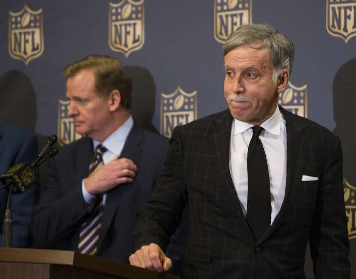 St. Louis Rams owner Stan Kroenke stands at the podium during a news conference following the NFL owners meetings on Tuesday, Jan. 12, 2016, in Houston. The NFL owners formally approved the relocation of the St. Louis Rams to Los Angeles. The San Diego Chargers have the option to join them. The final vote passed by a 30-2 margin.( Brett Coomer / Houston Chronicle )