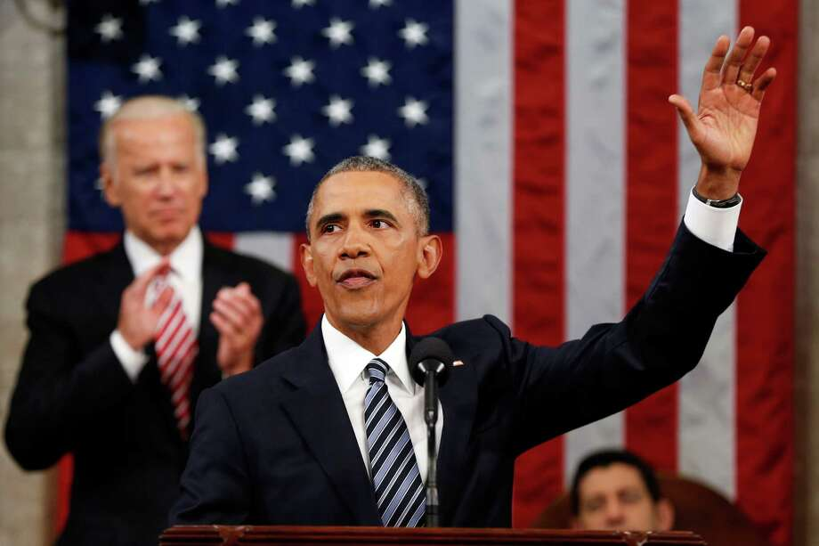 President Barack Obama waves at the conclusion of his State of the Union address to a joint session of Congress on Capitol Hill in Washington, Tuesday, Jan. 12, 2016. (AP Photo/Evan Vucci, Pool) Photo: Evan Vucci, Associated Press / AP Pool
