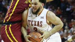 Javan Felix muscles into the paint as Texas hosts Iowa State at the Erwin Center in Austin on Jan. 12, 2016.