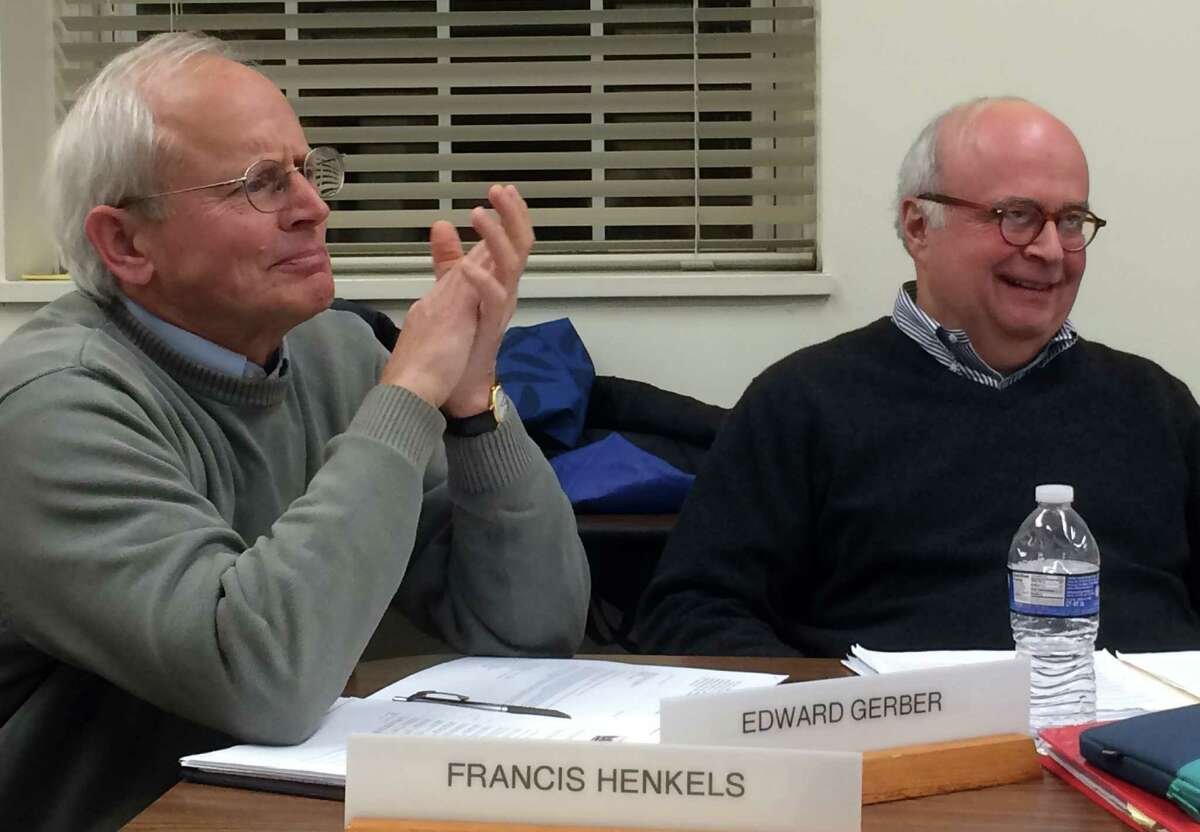 Historic District Commission Chairman Francis Henkels, left, and member Edward Gerber shown during debate at the panel's Tuesday meeting over the scope of a subcommittee's study to designate the Saugatuck River bridge -- and possibly abutting properties -- a local historic district.