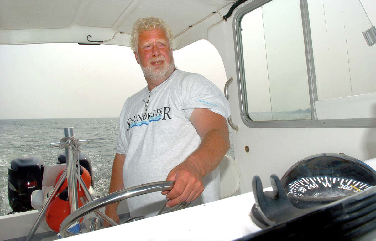 Soundkeeper Terry Backer, on patrol in Long Island Sound on July 27, 2006.