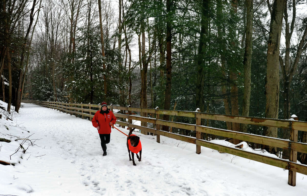 Millie Phillips jogs with her dog Samson along the Housantonic Railway Rails to Trails Pequonnock Valley Greenway in Trumbull, Conn. on Wednesday January 16, 2013.