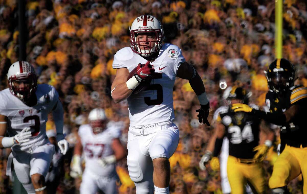 Christian McCaffrey, RB, Stanford 7-to-1 McCaffrey's Rose Bowl performance let the world know what the West Coast already knew - McCaffrey probably should have won the Heisman Trophy last year.