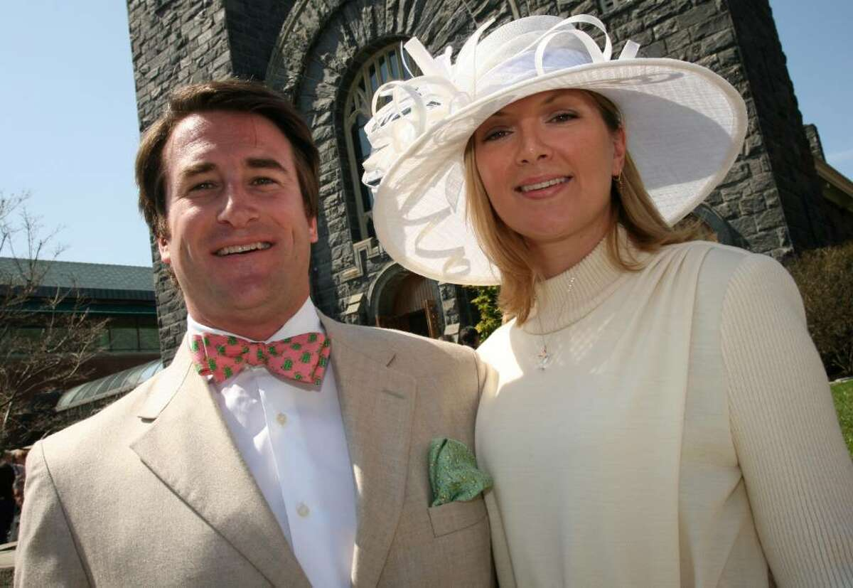 Greenwich residents Christopher Jennings and Shanna Miller were dressed perfectly for Easter services at St. Mary's Church on Greenwich Avenue Sunday morning.