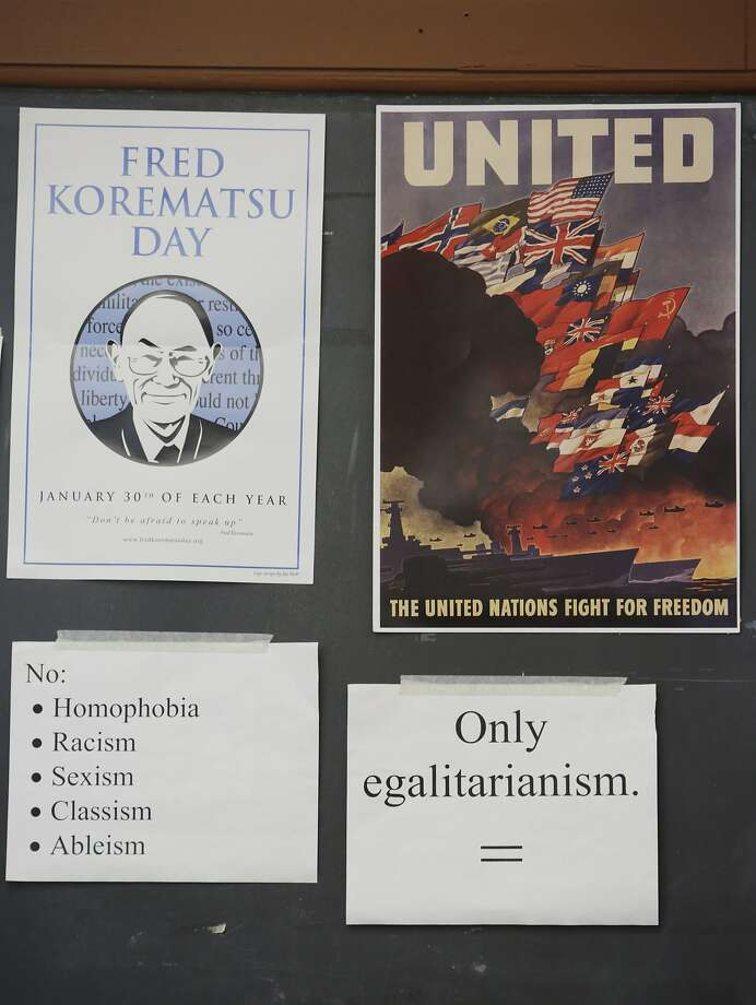 Posters and signs on the class wall that David Ko uses to teach his ethnic studies, US History and World History classes are seen at Washington High School on Wednesday, January 13, 2015 in San Francisco, Calif. Photo: Lea Suzuki, The Chronicle