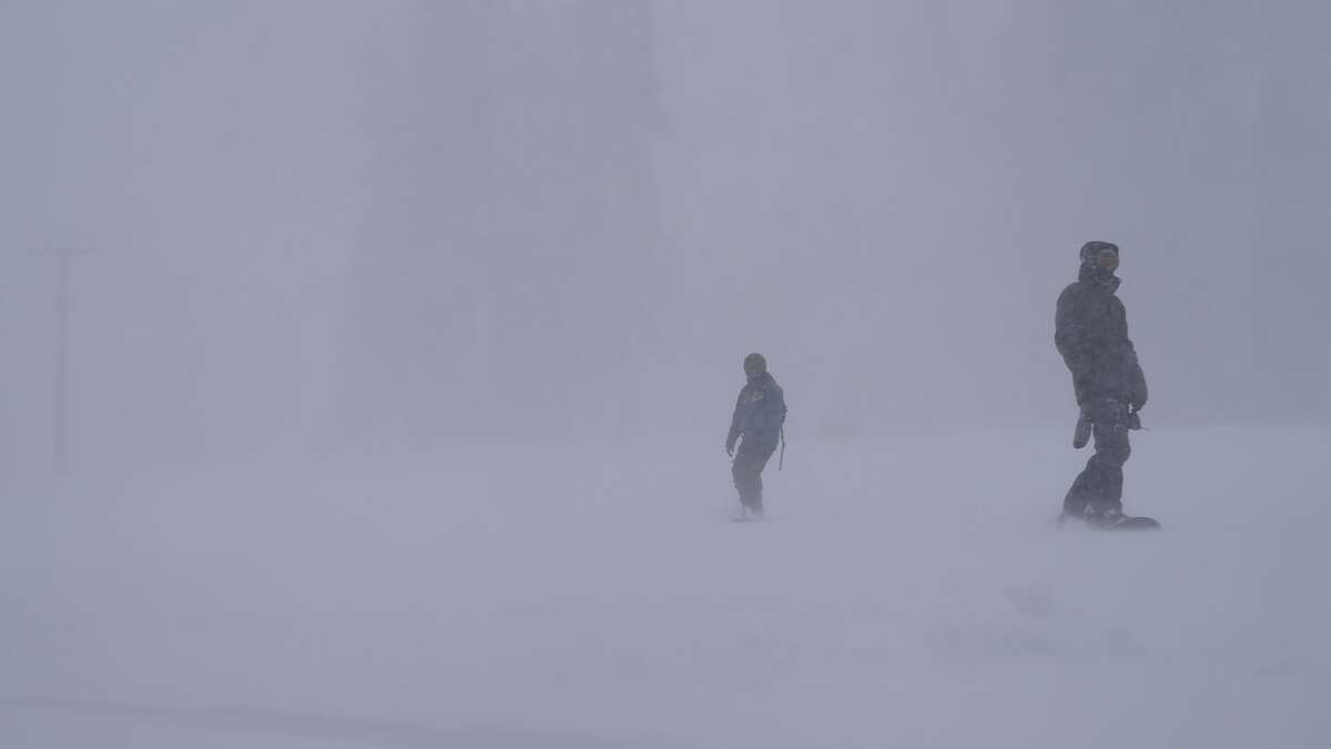 California's Kirkwood Mountain Resort was open and welcoming skiers and boarders as a storm pounded the Sierra on Jan. 13, 2016.