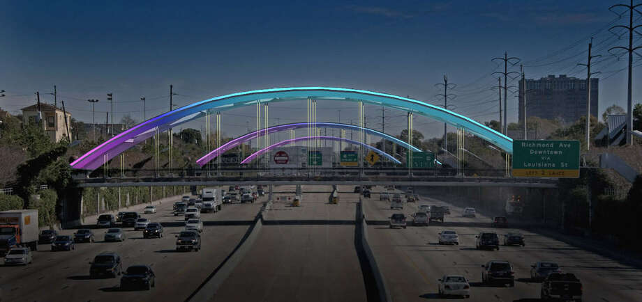 New LED lighting is planned along seven bridges spanning U.S. 59 in the Montrose area. The color-changing lights will replace broken lighting on the bridges that was popular with drivers and nearby residents. Photo: Gandy2, Courtesy H-GAC