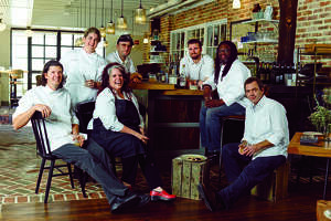 "The February/March issue of Garden & Gun magazine features ""The Southern Hot List"" of Southern talent. The spread includes an article about enterprising Southern chefs that includes Houston's PJ Stoops of the new Foreign Correspondents northern Thai restaurant. From left: Joseph Lenn, Kelly Fields, Lisa White, Elliott Moss, Jeremiah Langhorne, Matthew Raiford, and P. J. Stoops, photographed at the Dabney in Washington, D.C. (By William Hereford)"