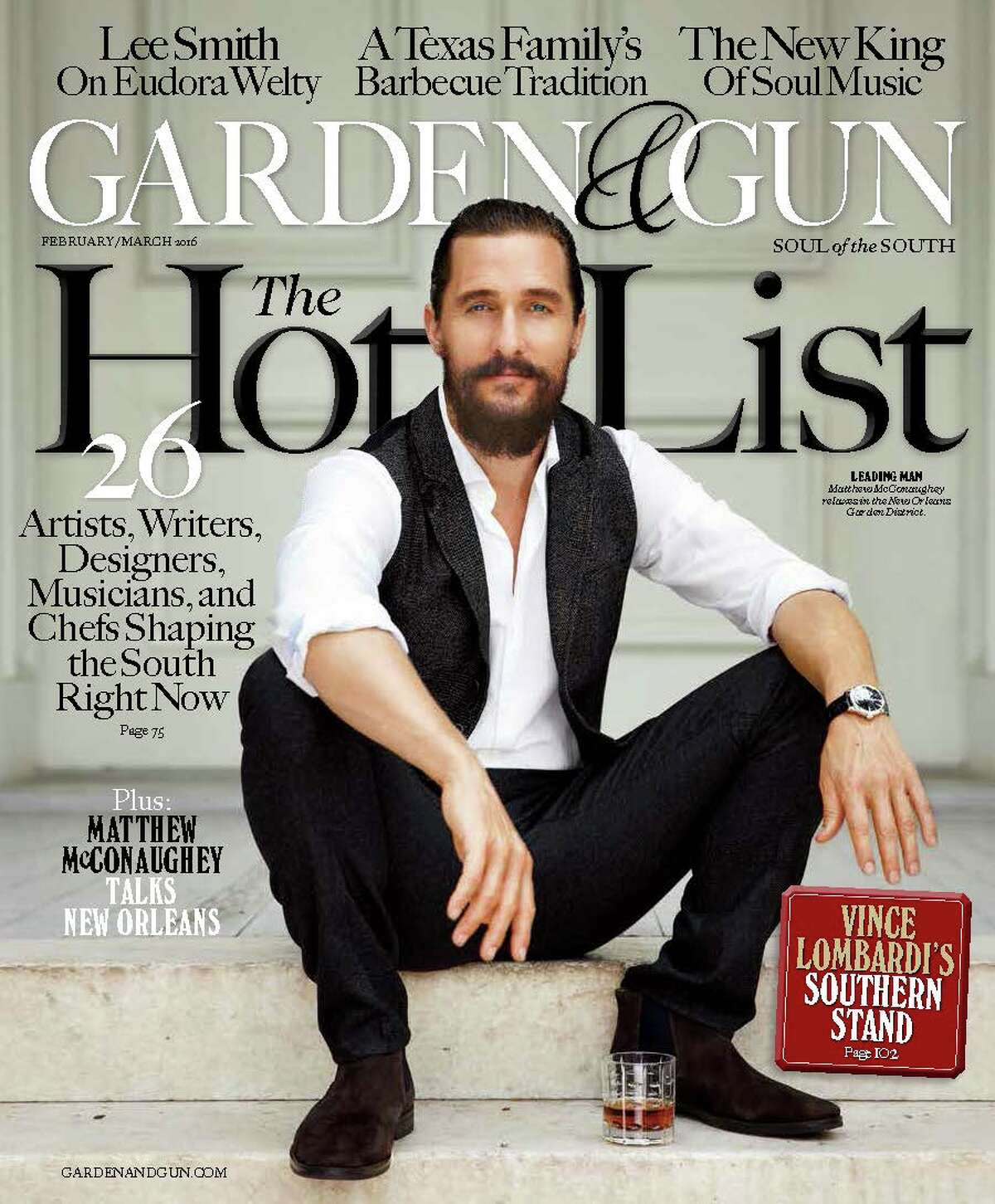 """Cover of the February/March issue of Garden & Gun magazine featuring """"The Southern Hot List"""" of Southern talent. The spread includes an article about enterprising Southern chefs that includes Houston's PJ Stoops of the new Foreign Correspondents northern Thai restaurant."""