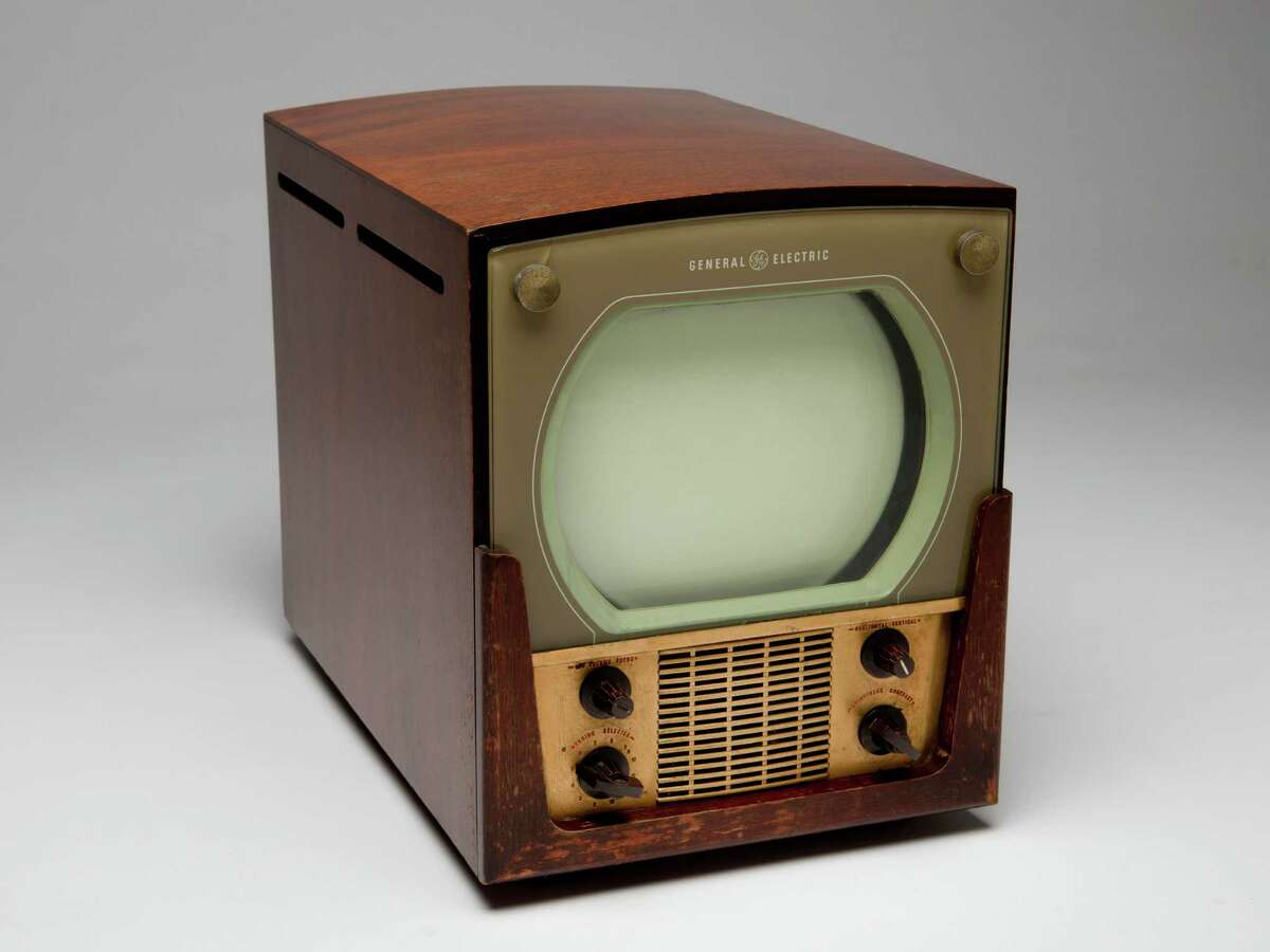 Mahogany and brass cased GE television, circa 1948.