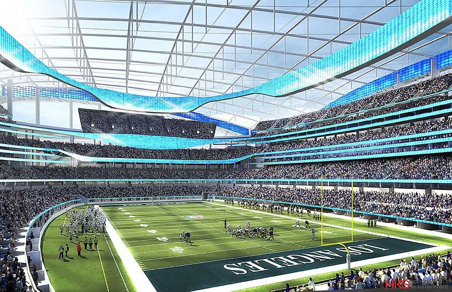 This undated rendering provided by HKS Sports & Entertainment shows a proposed NFL football stadium in Ingewood, Calif. During an NFL owners meeting Tuesday, Jan. 12, 2016, in Houston the owners voted to allow the St. Louis Rams to move to a new stadium just outside Los Angeles, and the San Diego Chargers will have an option to share the facility. The Oakland Raiders will be given the option to join the Rams if the Chargers opt out. Photo: Associated Press