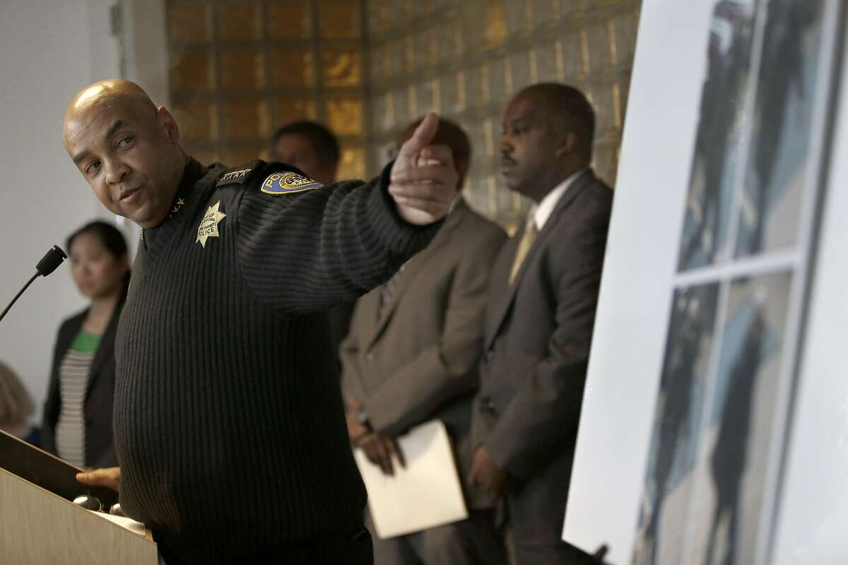 BART Police Chief Kenton Rainey shows video images of suspect being sought in this weekend's BART train murder in Oakland, California, on Wednesday, January 13, 2015.