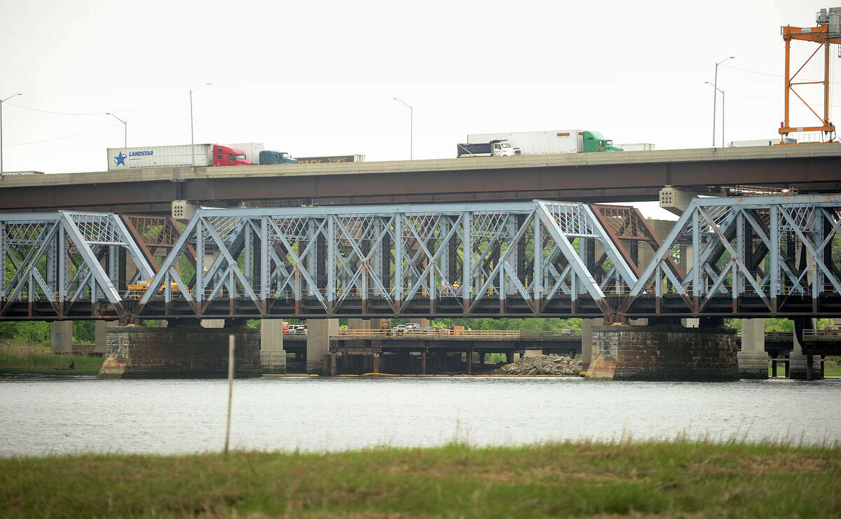 The Housatonic River train bridge between Milford and Stratford, Conn. on Wednesday, May 27, 2015.