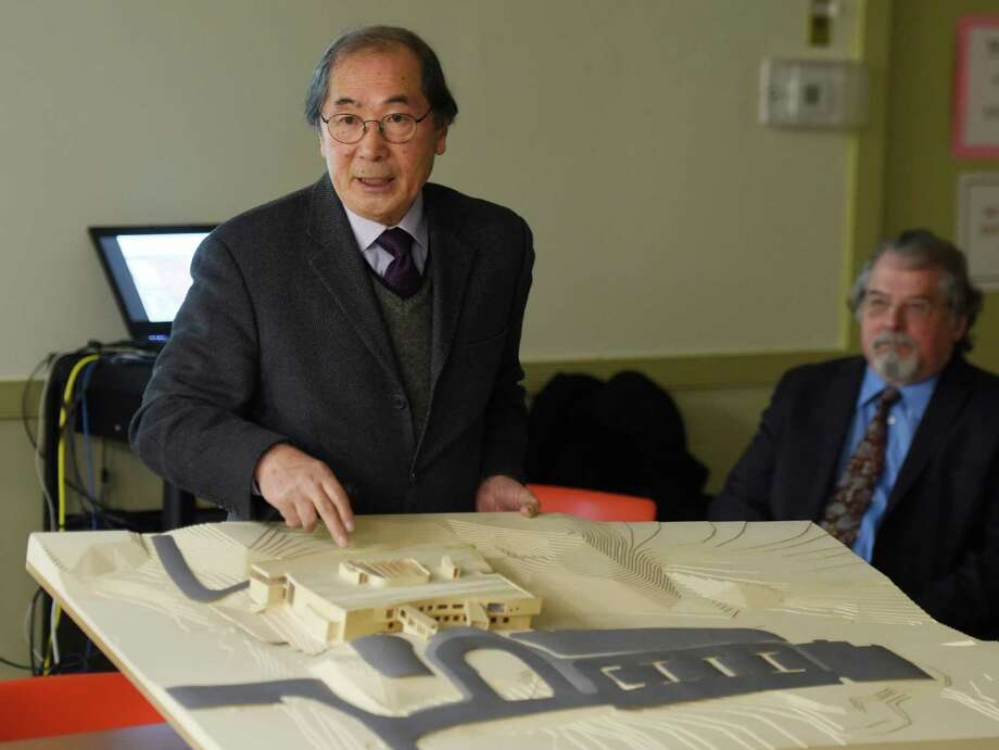"Tai Soo Kim, of Tai Soo Kim Partners Architects, presents a new architectural proposal for New Lebanon School at the Board of Education in Greenwich, Conn. Wednesday, Jan. 13, 2016.  In December the building committee asked the architects for more options, so on Wednesday two new plans, touted ""Option 3"" and ""Option 4"" were unveiled before the building committee and school board. Photo: Tyler Sizemore / Hearst Connecticut Media / Greenwich Time"