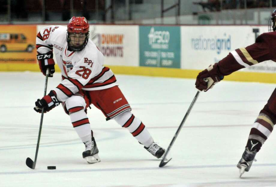 RPI's Jesper Ohrvall brings the puck up the ice during their game against Boston College on Sunday, Oct. 11, 2015, in Troy, N.Y.  (Paul Buckowski / Times Union) Photo: PAUL BUCKOWSKI / 10033671A