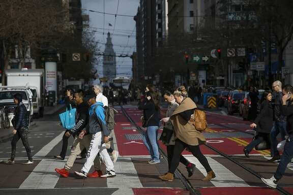 People cross Market St. between 4th and 5th Streets, in San Francisco, Calif. on Wed. January 13, 2016. The stretch of Market Street between 4th and 5th is one of the busiest in San Francisco, it also generates more crime reports than any other single block in the city.