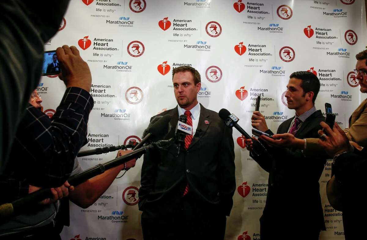 University of Houston head coach Tom Herman speaks to the media about being named a finalist for the 2016 American Heart Association Paul