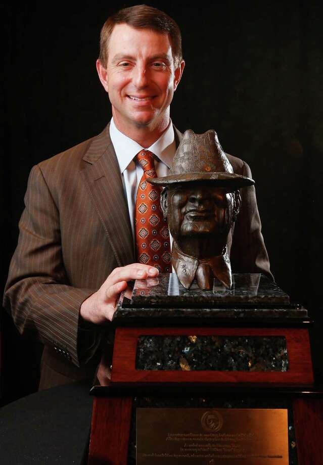 "Clemson coach Dabo Swinney poses for a photo before the Paul ""Bear"" Bryant Awards, for which he is a finalist, Wednesday, Jan. 13, 2016, in Houston. (Karen Warren/Houston Chronicle via AP) Photo: Karen Warren, Associated Press / Houston Chronicle"