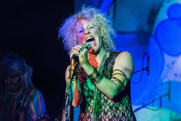 """Nederland native-turned-New Yorker Amber Martin as Janis Joplin in her show """"Janis: Undead."""" Amber Martin is Janis: Undead, at the Cutting Room October 22, 2015"""