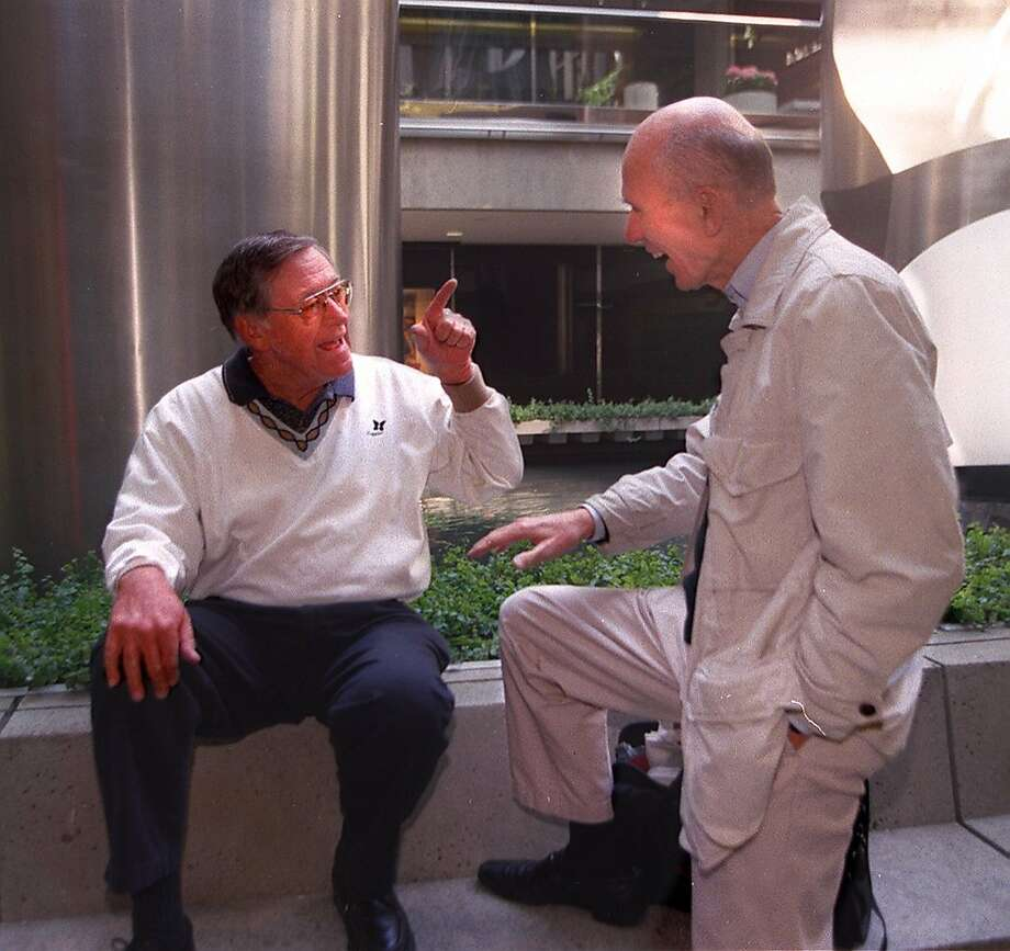 Al Hart jokes with fellow radio man Frank Dill in this 1997 photo. Hart, a morning news anchor on KCBS for more than 20 years, died Thursday morning after a long battle with a degenerative brain disease. Photo: John O'hara