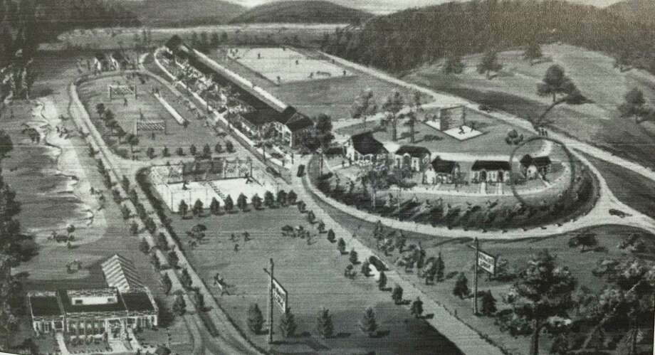 """Flashback: Kenwood Lodge Retail stores and businesses heavily line Route 7 in New Milford today, but that wasn't always the case. In the photograph above by Landis & Alsop., we can appreciate the openness of the property known as Kenwood Lodge. The resort was located on what is now known as Chatsworth Village at 248 Danbury Road, across the street and just south of Italia Mia Restaurant. Kenwood Lodge offered luxurious sleeping accommodations, a Rotisserie Restaurant and recreation facilities, such as swimming, tennis and handball courts, and a baseball field. Samuel and Sarah (Lasky) Levenstein operated the lodge, which was about two miles from the town's train station. This photograph is from a postcard dated 1948. If you have a """"Flashback"""" photo to share, contact Deborah Rose at drose@newmilford.com or call 860-355-7324. Photo: Courtesy Of """"Images Of America: New Milford Revisited"""" / The News-Times Contributed"""