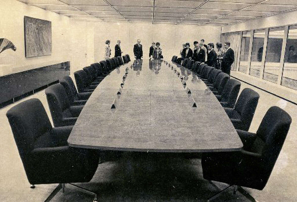 The boardroom at GE's brand new Easton Turnpike headquarters when it opened in 1974.