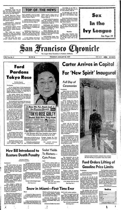 "This Chronicle front page covers President Gerald Ford's pardoning of Iva Toguri D-Aquino, known as ""Tokyo Rose,"" on Jan. 20, 1977."