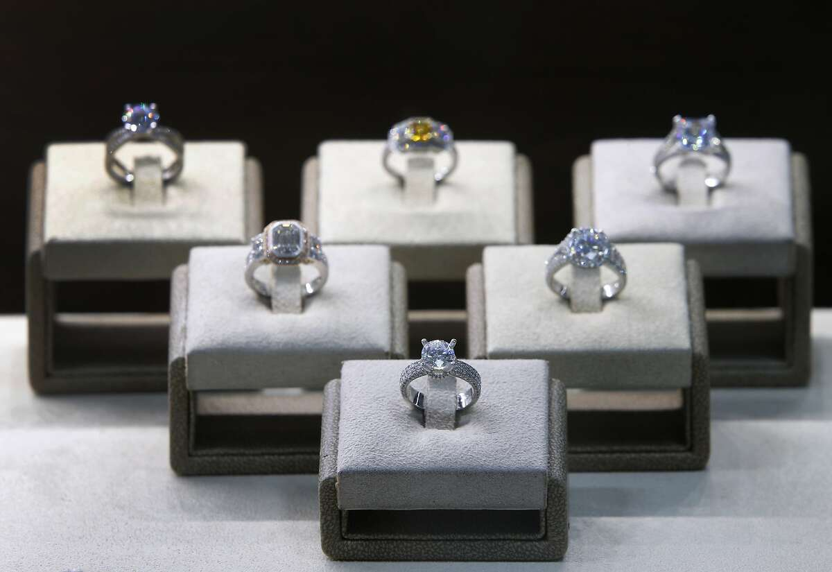 Rings designed by jeweler Set F. are seen at his La Bijouterie jewelry boutique in San Francisco, Calif. on Tuesday, Jan. 12, 2016.