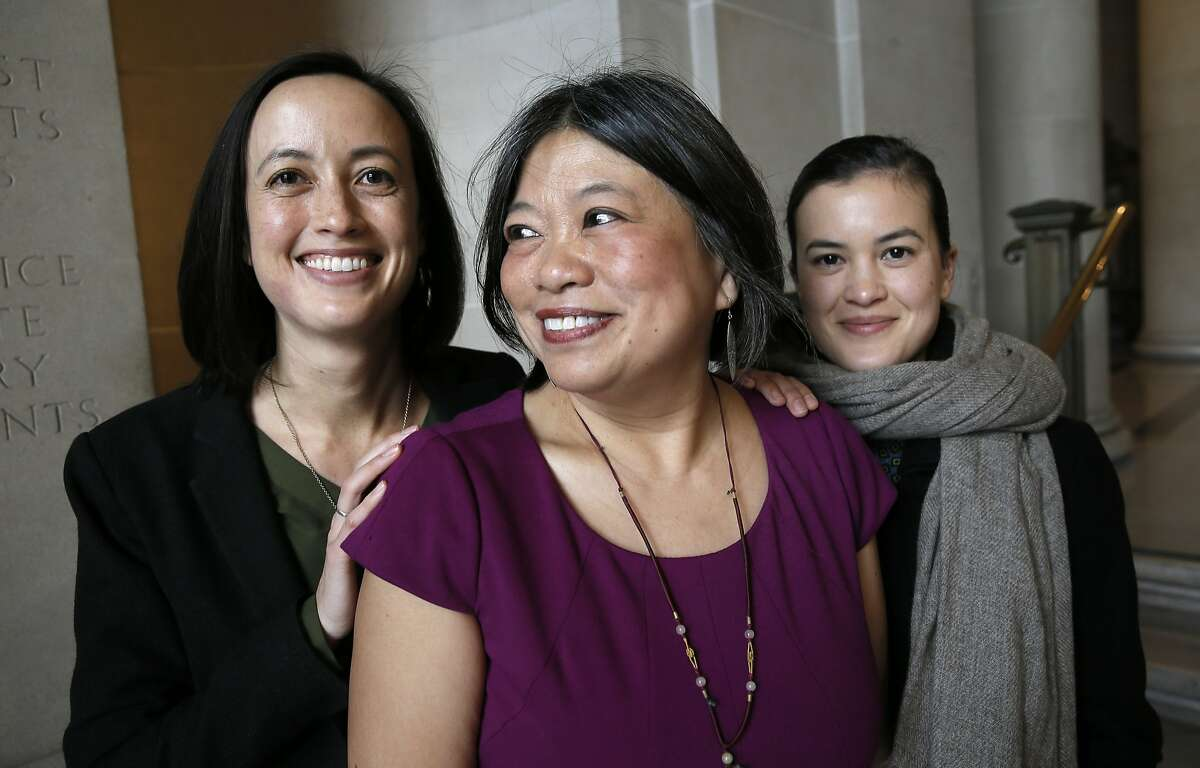 Sandra Lee Fewer, with her daughters Sara (left) and Colleen after she filed papers at City Hall to run for San Francisco Supervisor in District 1, in San Francisco, Calif. on Thurs. January 14, 2016.