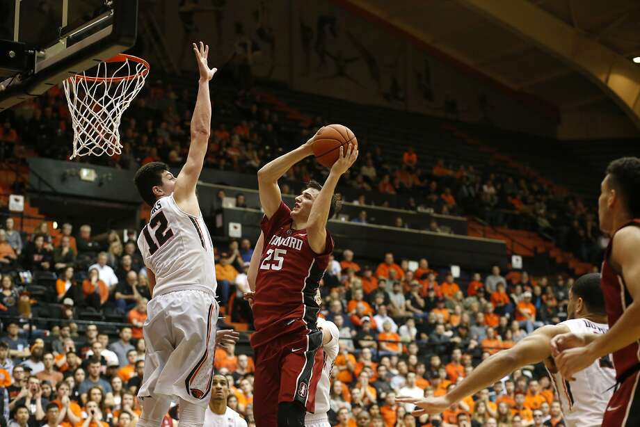 Stanford's Rosco Allen and Oregon State's Drew Eubanks in the second half of an N.C.AA college basketball game, in Corvallis, Ore., on Wednesday, Jan. 6, 2016. (AP Photo/Timothy J. Gonzalez) Photo: Timothy J. Gonzalez, Associated Press