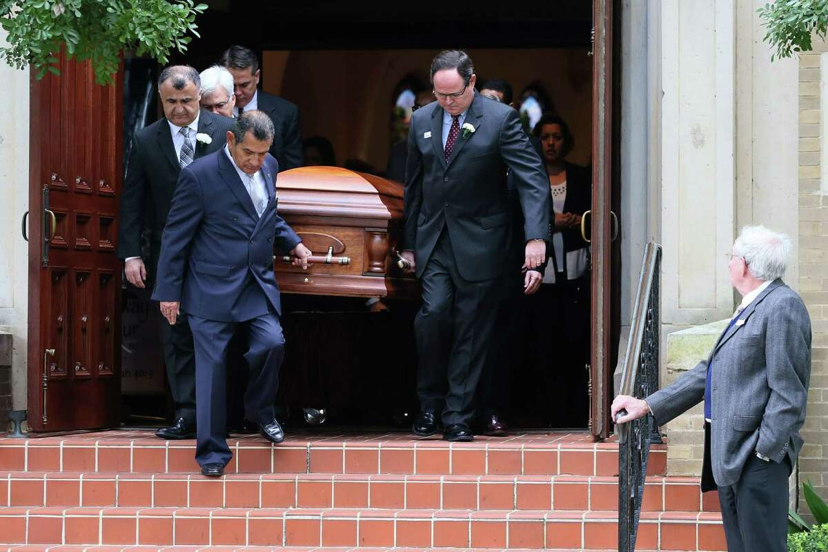 """Pallbearers take the casket of Alamo Heights student David Molak, 16, from Christ Episcopal Church. We call what Molak endured """"cyberbullying"""" or """"cyberharrasment,"""" but such terms only reveal how out of touch we are on this issue."""