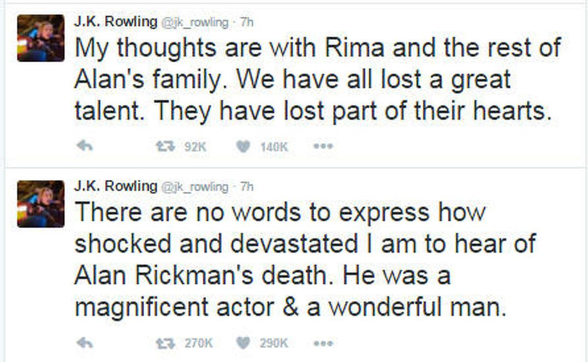 "J.K. Rowling (""Harry Potter"" author) Twitter: @jk_rowling"