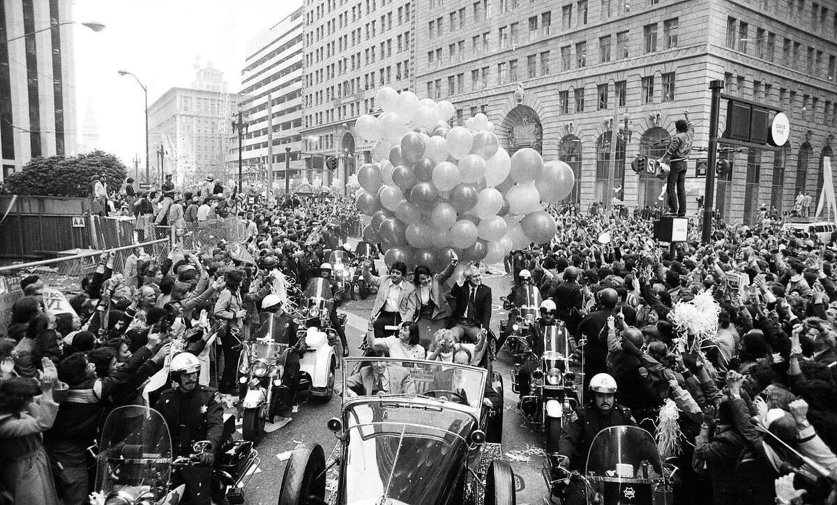 On Jan. 25, 1982, Eddie De Bartolo Jr., Dianne Feinstein and Bill Walsh share a car during the parade honoring the team's Super Bowl XVI victory.