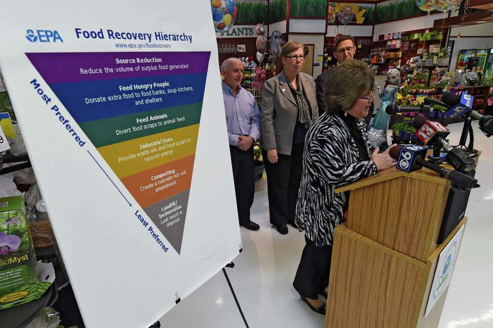 Mona Golub, vice president of public relations and consumer services for Price Chopper, speaks at a press conference announcing the EPA's Food Recovery Challenge Program Thursday afternoon, Jan. 14, 2016, at the Price Chopper on Central Ave. in Colonie, N.Y. (Skip Dickstein/Times Union)