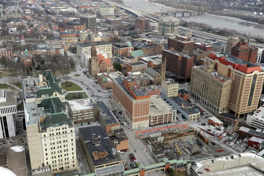 City of Albany look north from the Corning Tower with work on the Albany Convention Center site, lower right, on Thursday Jan. 14, 2016 in Albany, N.Y. (Michael P. Farrell/Times Union) Photo: Michael P. Farrell / 10035004A