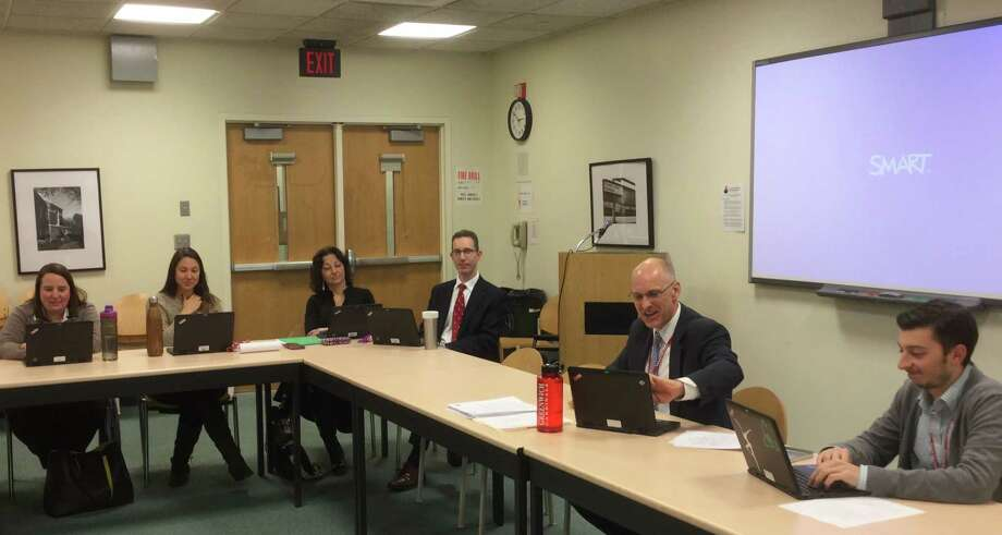 Greenwich High School's new Stress Study Committee met for the first time on Thursday, Jan. 14, 2016 at Greenwich High School. Headmaster Chris Winters is leading the committee. Photo: Paul Schott