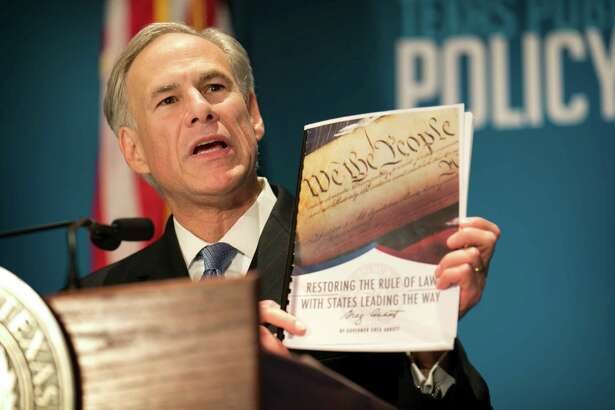 Gov. Greg Abbott calls for a convention of states to amend the Constitution during a speech at the Texas Public Policy Foundation in Austin on Jan. 8.