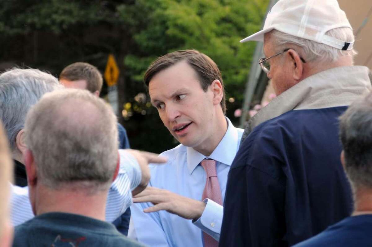 Congressman Chris Murphy at an outdoor town hall meeting to discuss health care reform Wednesday, Sept. 2, 2009 at the Danbury Town Green in Danbury, CT.