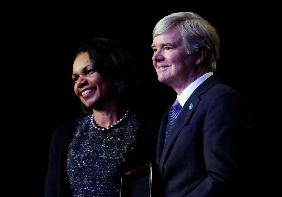 Secretary of State Condoleeza Rice, left, stands with NCAA president Mark Emmert before speaking during a luncheon at the NCAA Convention, Thursday, Jan. 14, 2016, in San Antonio. Photo: Eric Gay /Associated Press / AP