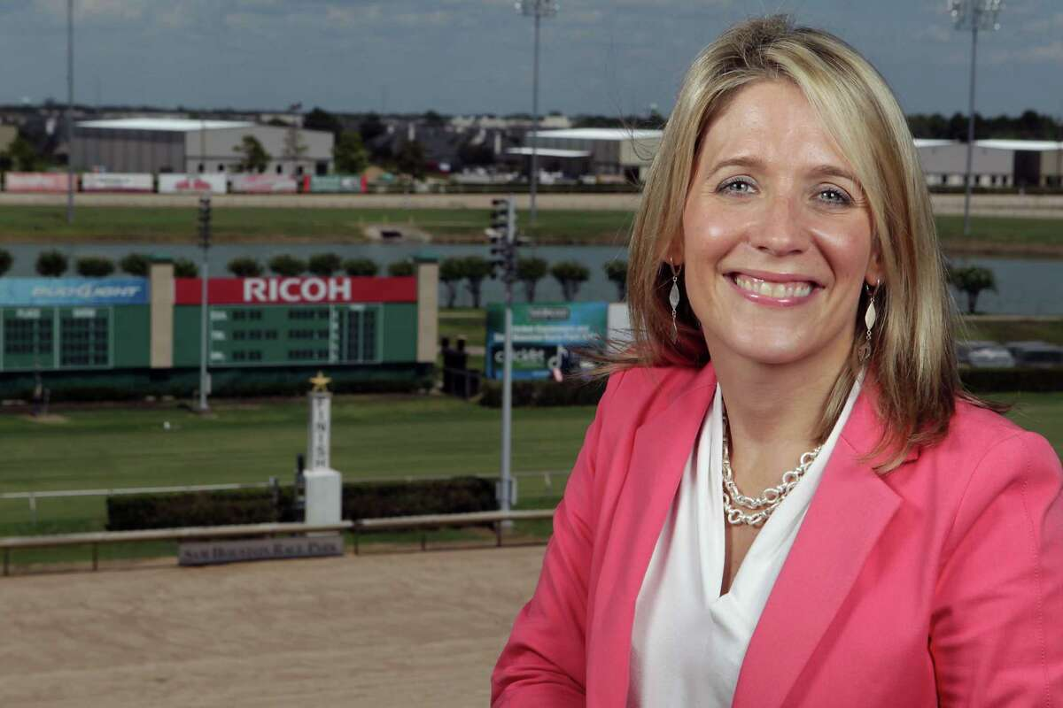 Sam Houston Race Park President Andrea Young poses for a portrait in one of the park's suites Thursday, July 18, 2013, in Houston. ( James Nielsen / Houston Chronicle )