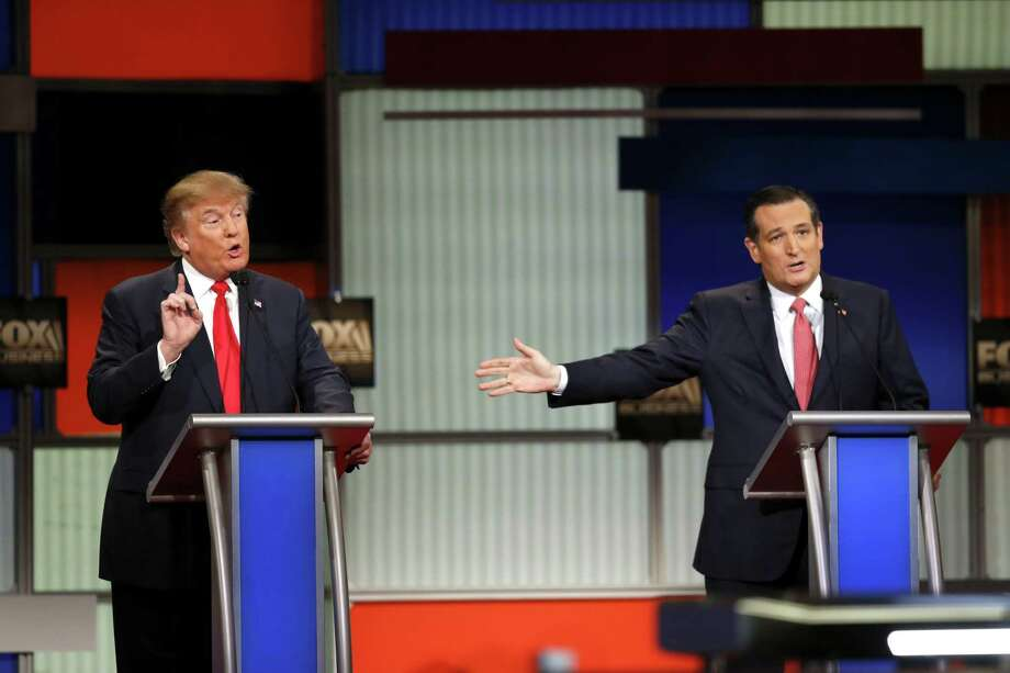Donald Trump and Ted Cruz spar over questions about the Texas senator's eligibility to be president. Photo: Eric Thayer / New York Times / NYTNS