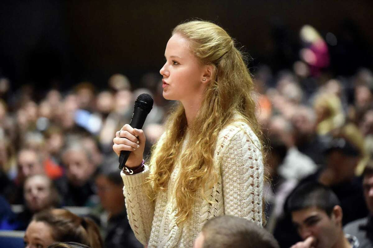 High school senior Anna Wysocki, 17, poses her question about PFOA contamination in the water system during a public meeting on Thursday, Jan. 14, 2016, at Hoosick Falls Central School in Hoosick Falls, N.Y. (Cindy Schultz / Times Union)