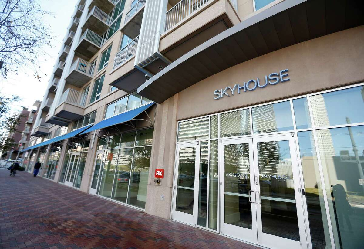 The Skyhouse, a pair of high-rise residential towers downtown at 1625 Main on Tuesday, Jan. 12, 2016, in Houston. One is open and the second is under construction. ( Karen Warren / Houston Chronicle )