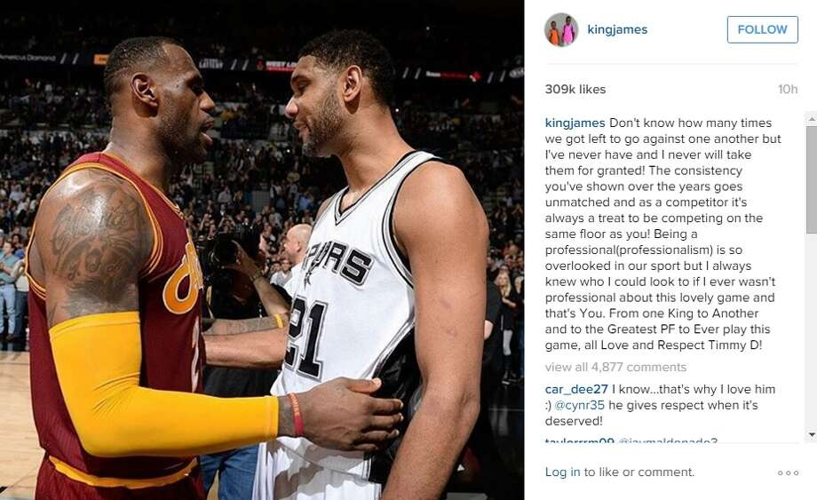"""Spurs fans may have found their usual dislike for Lebron James hard to muster up last night after he posted an emotional Instagram shout out to the """"greatest"""" power forward to play the game -- Tim Duncan."""