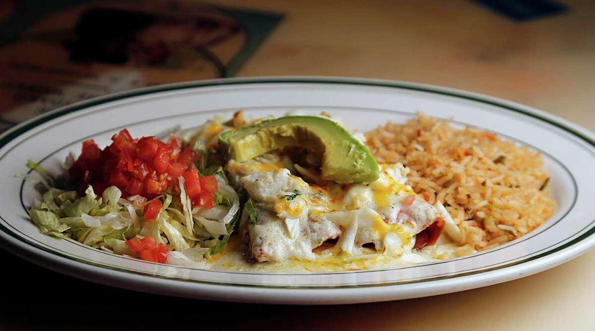 The Crabmeat and Avocado Enchiladas El Real Tex-Mex Cafe.