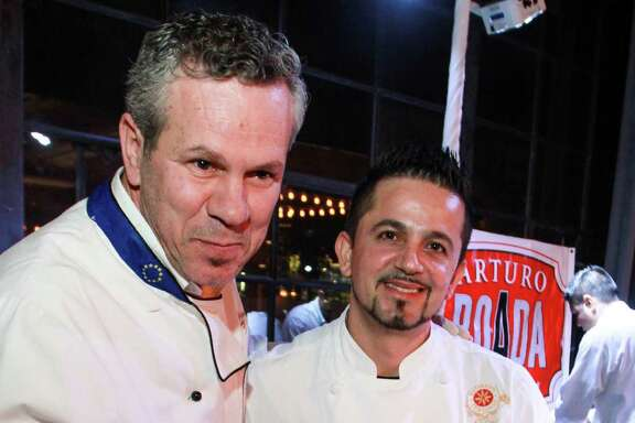 Chefs Efisio Farris, left, and Luigi Shimaj of Arcodoro, at the second annual Truffle Chef Challenge.  (For the Chronicle/Gary Fountain, January 11, 2016)