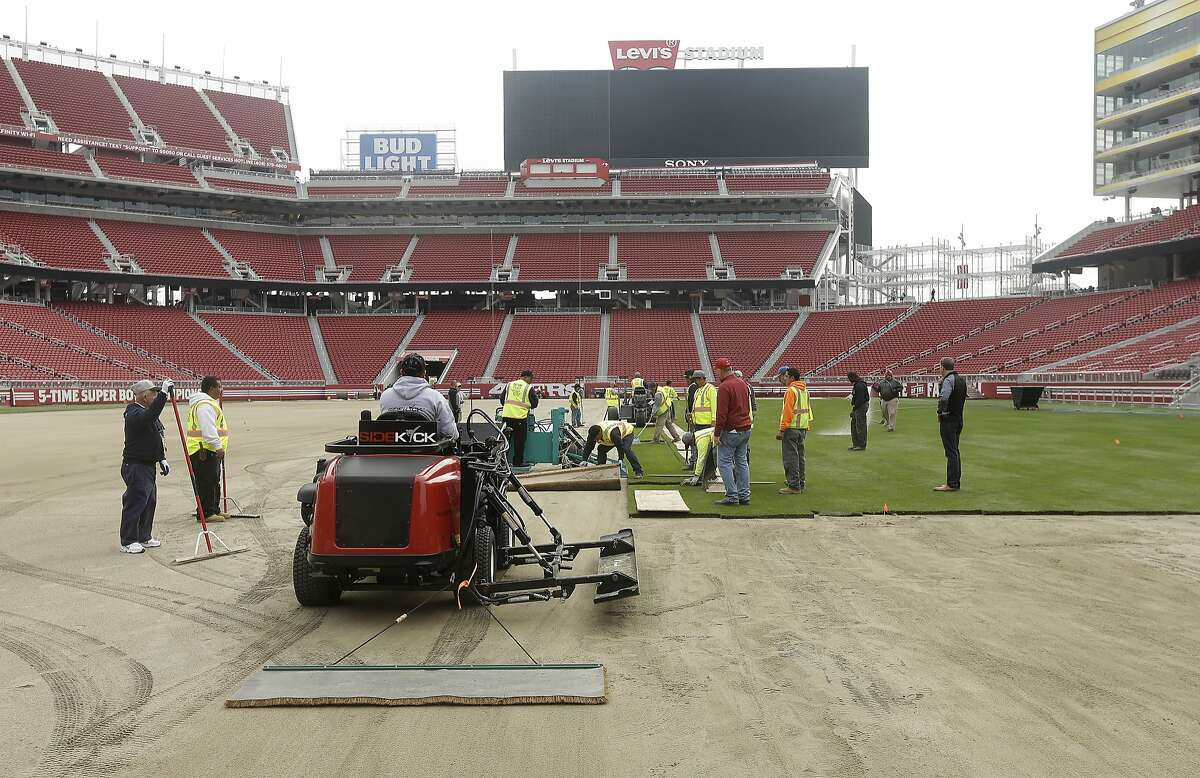 Workers install sod on the field at Levi's Stadium in preparation for the NFL's Super Bowl 50 in Santa Clara, Calif., Monday, Jan. 11, 2016. Less than four weeks out from the Super Bowl, the field is nearly ready to be played on thanks to long days at Levi's Stadium by the crew working to install fresh sod and make every necessary tweak in regards to weather and other potential issues.
